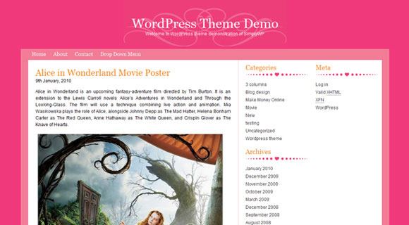 Fruity Pink WordPress Theme