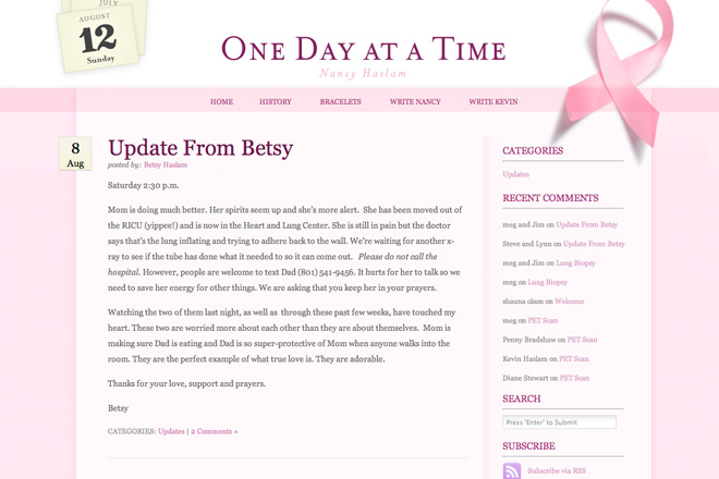 'One Day At A Time' Breast Cancer Theme