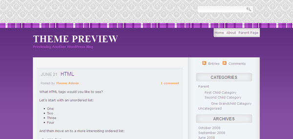 Ethnic Purple WordPress Theme