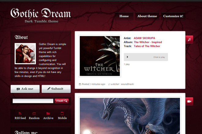 Gothic Dream Tumblr Theme