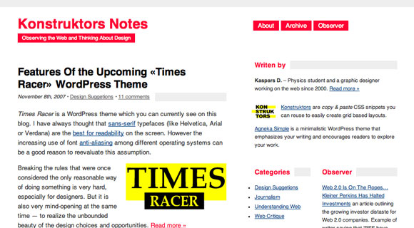 Sans Serif Racer WordPress Theme